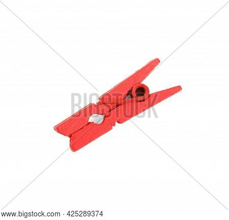 Bright Red Wooden Clothespin Isolated On White