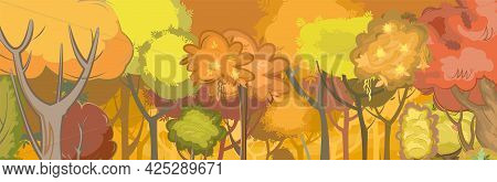 Autumn Forest. Green, Yellow And Red Plants. The Edge. Glade. Beautiful And Graceful Trees. Flat Sty