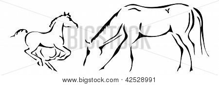 black and white vector outlines of galloping foal and mare poster