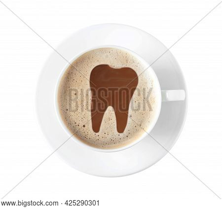 Coffee Causing Dental Problem. Cup Of Hot Drink On White Background, Top View