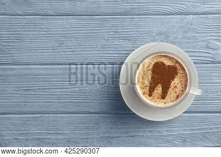 Coffee Causing Dental Problem. Cup Of Hot Drink On Wooden Background, Top View