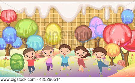 Kiddies On Candy Background. Cartoon Sweet Land. Boys And Girls. Ice Cream And Caramel. Chocolate. C