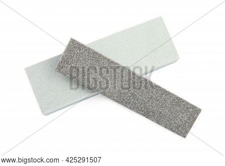 Sharpening Stones For Knife On White Background, Top View