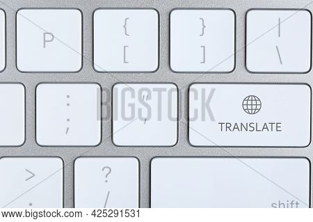 Modern Computer Keyboard With Button For Quick Translation, Top View