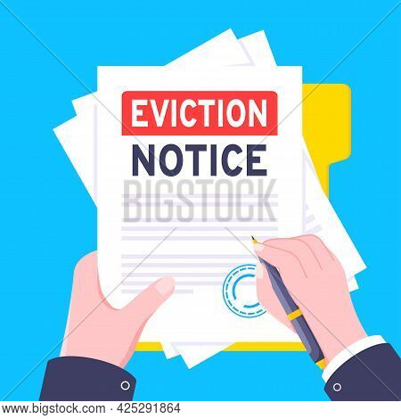 Hand Holds Eviction Notice Legal Document With Stamp, Paper Sheets And File Vector Illustration Flat