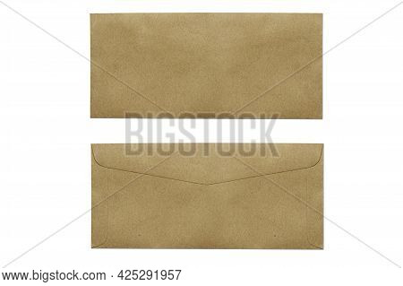 Brown Envelope Isolated On White Background With Clipping Path. Top View Of Front And Back Envelopes