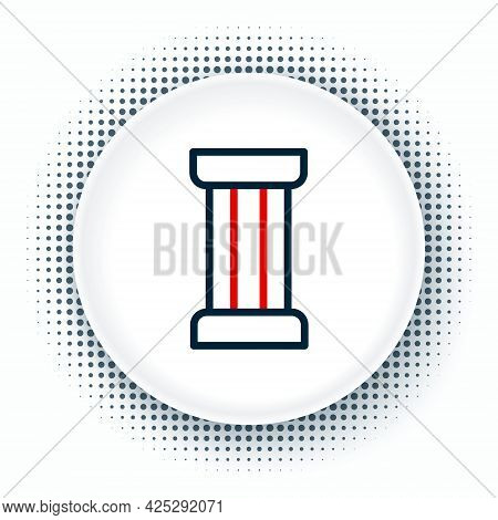 Line Ancient Column Icon Isolated On White Background. Colorful Outline Concept. Vector