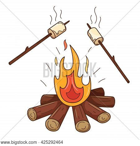 Marshmallows Are Fried On The Fire. A Wood-burning Bonfire. Autumn Entertainment. Decorative Element