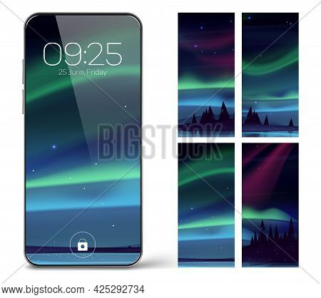 Smartphone Lock Screen With Aurora Borealis. Mobile Phone Onboard Page With Date And Time, Northern
