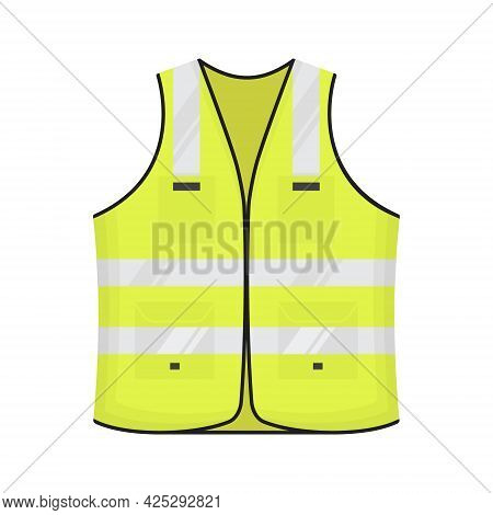 Safety Reflective Vest Icon Sign Flat Style Design Vector Illustration. Blue Colored Fluorescent Sec