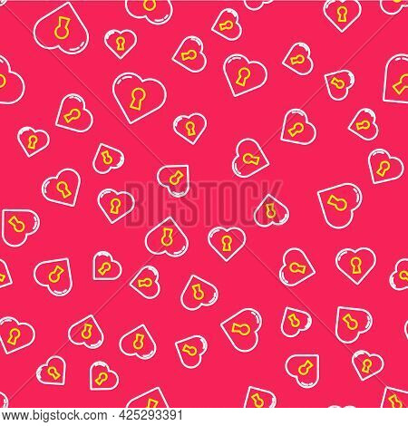Line Heart With Keyhole Icon Isolated Seamless Pattern On Red Background. Locked Heart. Love Symbol