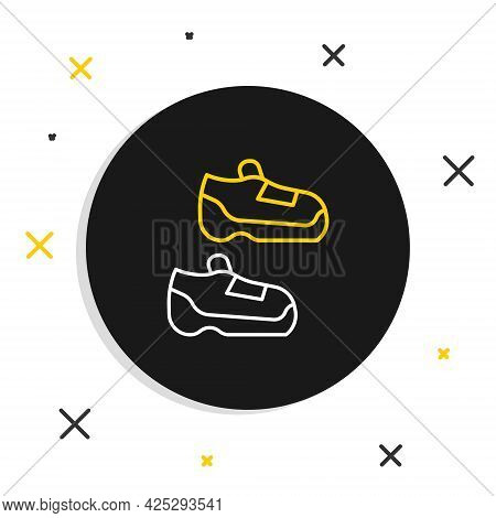 Line Fitness Sneakers Shoes For Training, Running Icon Isolated On White Background. Sport Shoes. Co