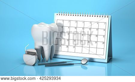 Reminder Calendar For Visiting The Dentist. Dental Appointment, Check. Calendar With Tooth And Denta