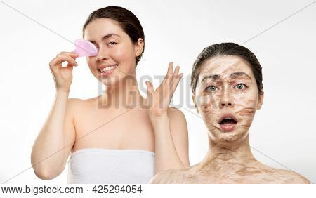 Portrait Of A Surprised Woman With Big Wrinkles On Her Face And Dry Skin, And A Beautiful Smiling Wo