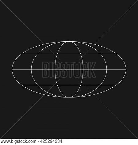 Digital Retro Cyber Ellipse Planet Design Element. Retrofuturistic Shape. Shape Of Planet In Cyberpu