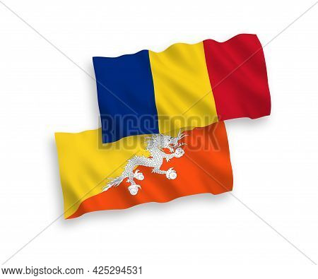 National Fabric Wave Flags Of Romania And Kingdom Of Bhutan Isolated On White Background. 1 To 2 Pro