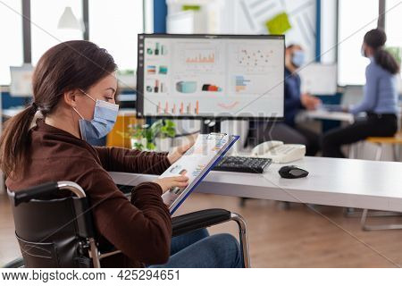 Immobilized Business Woman With Protective Mask Working In New Normal Business Financial Company Typ