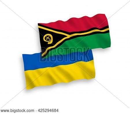 National Fabric Wave Flags Of Republic Of Vanuatu And Ukraine Isolated On White Background. 1 To 2 P