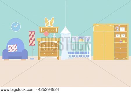 Children's Room Interior With A Crib, A Wardrobe With Toys, A Shelf, A Chest Of Drawers And An Armch