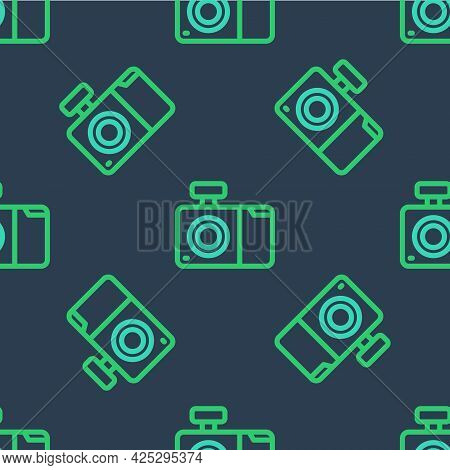 Line Photo Camera Icon Isolated Seamless Pattern On Blue Background. Foto Camera Icon. Vector