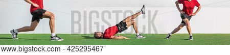 Leg exercises fitness workout demonstration banner fit man working out demonstrating different glute exercise training bodyweight muscles. Panoramic header.