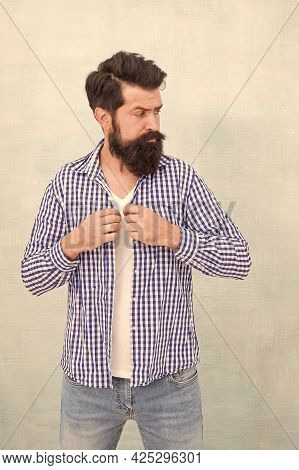 As Individual As You Are. Bearded Man In Casual Style. Menswear Store. Casual Fashion. Modern Trend.