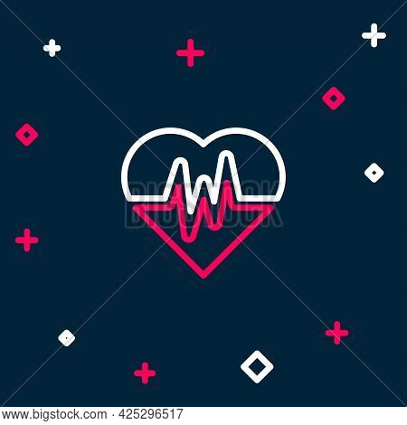 Line Heart Rate Icon Isolated On Blue Background. Heartbeat Sign. Heart Pulse Icon. Cardiogram Icon.