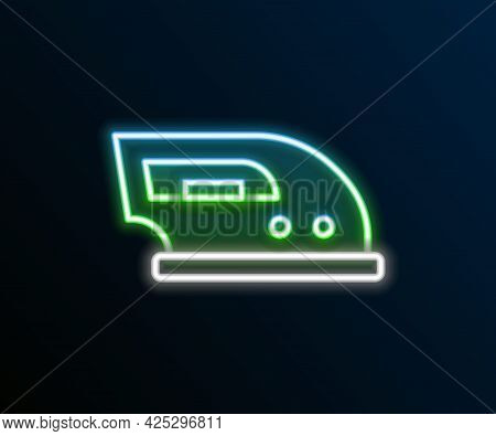 Glowing Neon Line Electric Iron Icon Isolated On Black Background. Steam Iron. Colorful Outline Conc
