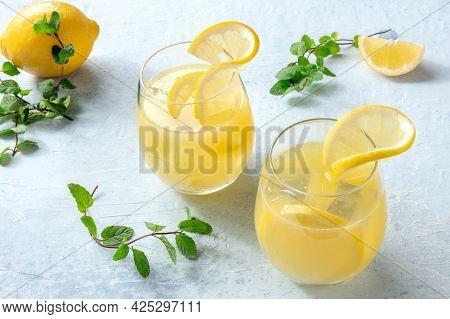Lemonade. Homemade Fresh Lemon Drink. Fresh Beverage. Refreshing Citrus Ice Tea. Healthy Summer Beve