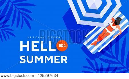 Creative Hello Summer Holiday Sale Banner In Trendy Bright Colors With Woman On Beach Striped Lounge
