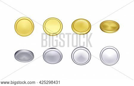 Set Of Gold And Silver Coin. Rotation Metallic Money. Vector Illustration
