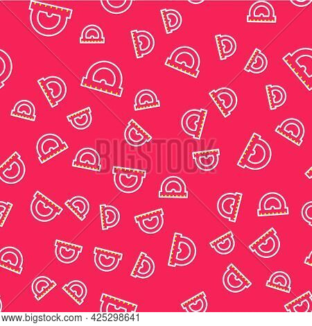 Line Protractor Grid For Measuring Degrees Icon Isolated Seamless Pattern On Red Background. Tilt An