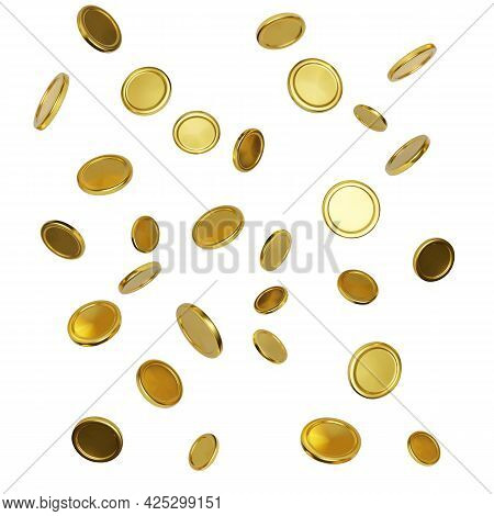 Realistic Gold Coins On White Background. Falling Or Flying Money. Jackpot Or Casino Poker Win Eleme