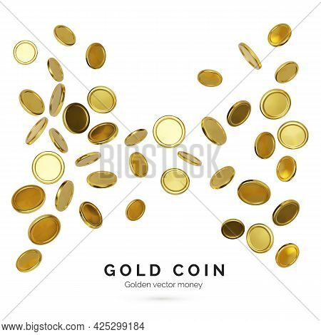 Realistic Gold Coins On White Background. Jackpot Or Casino Poker Win Element. Cash Treasure Concept