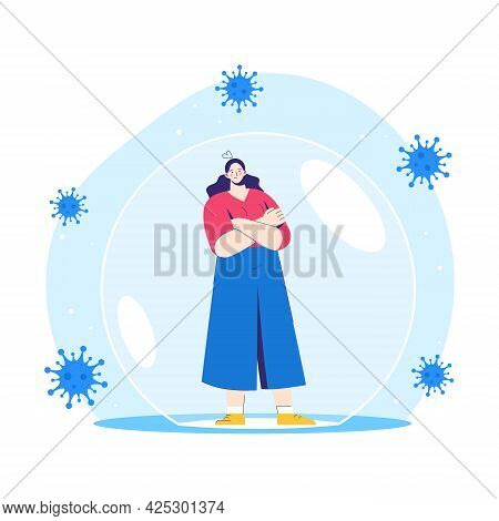 Woman Stands Inside A Protective Bubble. Adult Character Is Vaccinated And Protected From Coronaviru