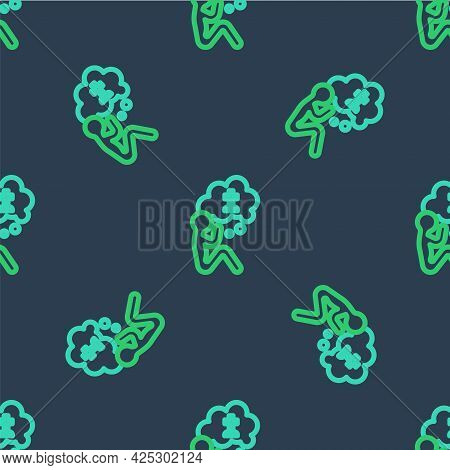 Line Man Graves Funeral Sorrow Icon Isolated Seamless Pattern On Blue Background. The Emotion Of Gri