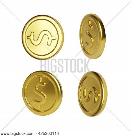 Golden Coin Rotation. Realistic Render Gold Money. Glossy Metallic Coin. Finance And Money. Vector I
