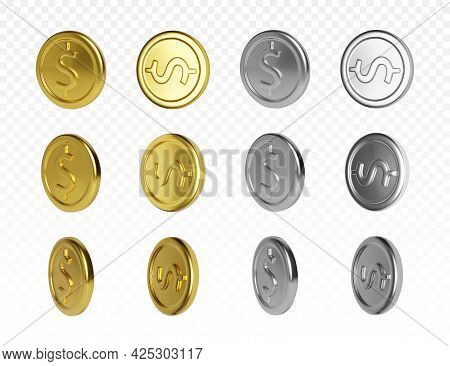 Set Of Gold And Silver Coin With Dollar Symbol. Render Of Rotation Metallic Money. Vector Illustrati