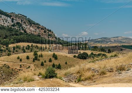 Doric Temple Of Segesta With View Over The Valley Towards The Gulf Of Castellamare,sicily,italy.euro