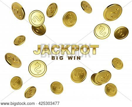 Jackpot Casino Winner. Big Win Banner With Falling Golden Coins On White Background. Vector Illustra