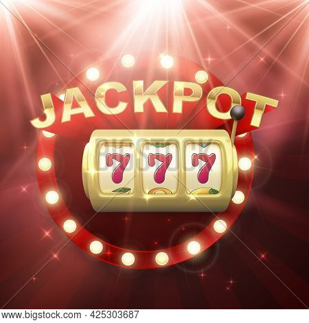 Golden Slot Machine. Big Win On Jackpot Casino Win. 777 On Slot Machine Wheels. Retro Signboard On R