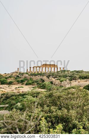 Acropolis Of Selinunte,sicily,italy.view Of Ruins Of Residential And Commercial Buildings With Colum