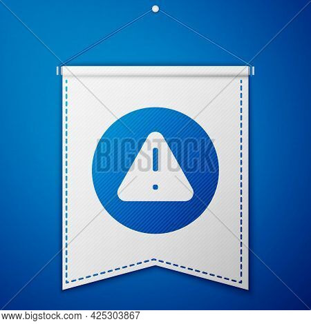 Blue Exclamation Mark In Triangle Icon Isolated On Blue Background. Hazard Warning Sign, Careful, At