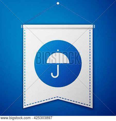 Blue Delivery Package With Umbrella Symbol Icon Isolated On Blue Background. Parcel Cardboard Box Wi