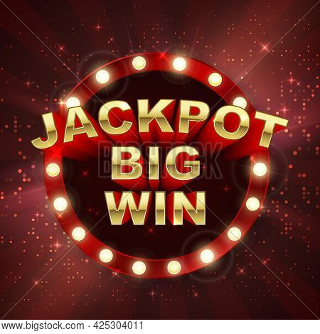 Jackpot Casino Winner. Big Win Banner. Retro Signboard On Red Background With Light Rays. Vector Ill