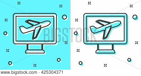 Black Line Plane Icon Isolated On Green And White Background. Flying Airplane Icon. Airliner Sign. R
