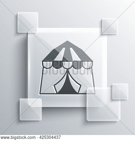 Grey Circus Tent Icon Isolated On Grey Background. Carnival Camping Tent. Amusement Park. Square Gla