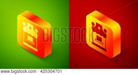 Isometric Ticket Box Office Icon Isolated On Green And Red Background. Ticket Booth For The Sale Of
