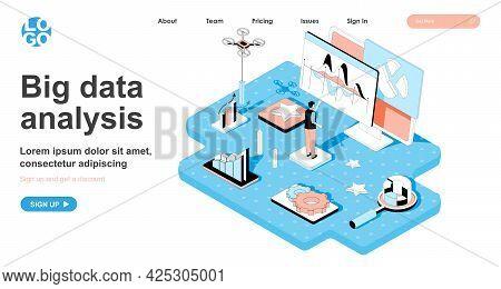 Big Data Analysis Isometric Concept. Analyst Presents Report Of Business Statistics, Company Indicat