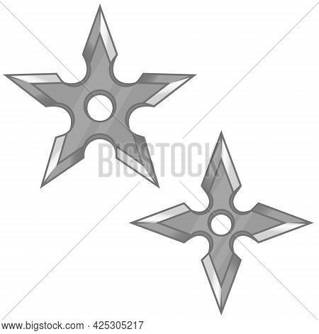Vector Design Of Two Shuriken, Ninja Weapons, Elements Of Japanese Culture And Folklore
